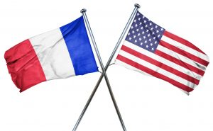 France flag combined with american flag